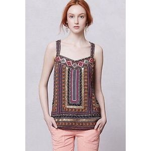 Anthropologie Meadow Rue Lawan Embroidered Tank S